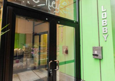 The Hub on Chestnut building exterior front door