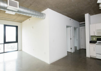 The Hub on Chestnut apartment interior showing ductwork and bedrooms